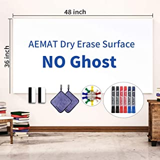 4'x3' Whiteboard Paper, White Board Adhesive Wallpaper, Large Dry Erase Wall Sticker, Dry Erase Paper Roll for Table/Doors, 6 Markers, Super Sticky, No Ghost