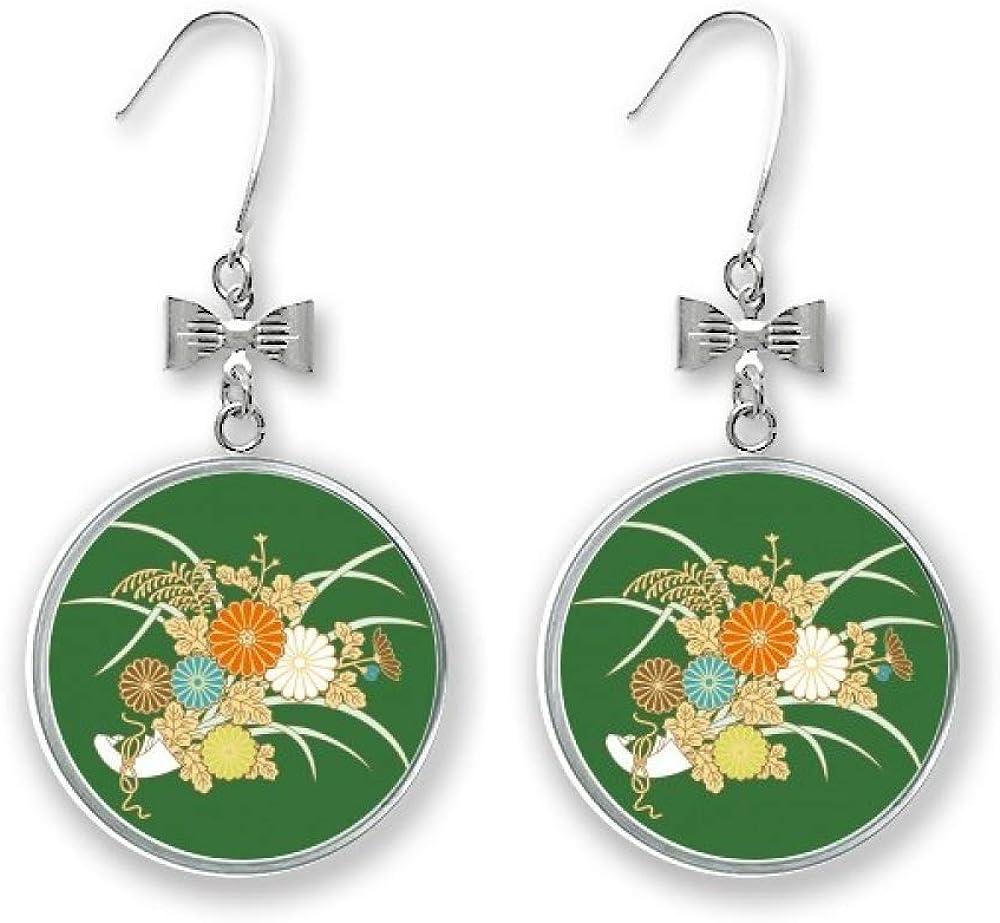Autumn Japanese Yellow Flower Bow Earrings Drop Bombing free Super-cheap shipping Pierced Stud Hoo