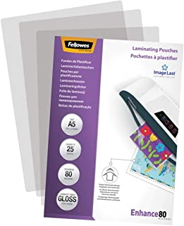 Fellowes Pochettes de plastification A5 80 microns Transparent