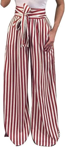 TOTOD Women Trousers Fashion Striped High Waist Bandage Long Pants