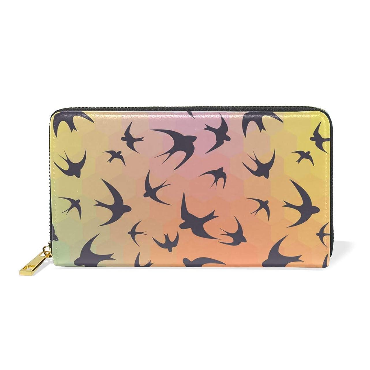 言い直す酸っぱいひもマキク(MAKIKU) 長財布 レディース 大容量 ツバメ 鳥柄 虹色 レザー 革 プレゼント対応