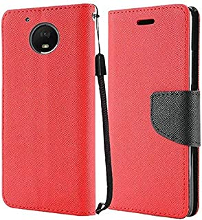 Motorola Moto G5 Plus case, Luckiefind Premium PU Leather Flip Wallet Credit Card Cover Case, Stylus Pen, Screen Protector Accessories (Wallet Red)