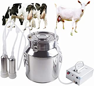 Futt 7L Pulsation Milking Machine 1.8 gallons Single Bucket Piston Vacuum Pulsation Milking Machine for Cows Cattle or Sheep (Ordinary/Lithium-Free Battery)
