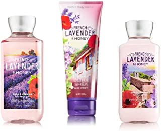Bath & Body Works ~ Signature Collection ~ FRENCH LAVENDER & HONEY ~ Shower Gel ~ Ultra Shea Body Cream & Body Lotion ~ 3 pc Gift Bag