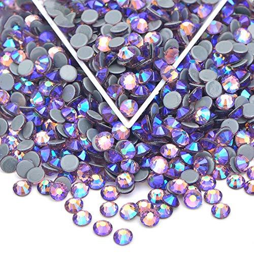 PENVEAT SS6 8 10 12 16 20 30 Zafiro Claro AB Hotfix Crystal Rhinestones Hierro sobre Vidrio Piedras Hot Fix Strass para Ropa Joyería, Light Amethyst AB, SS30 288Pcs