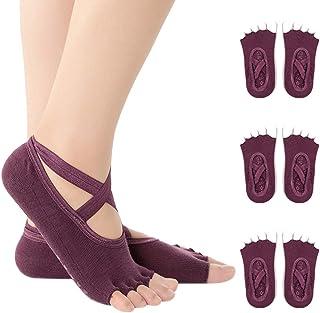 KINDOYO Yoga Socks - Yoga Open Toe Socks for Pilates Barre Dance Trampoline Home Use Fitness Non Slip Grip Socks