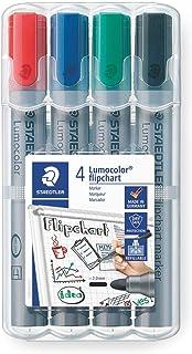 Staedtler Lumocolor Flipchart, Marqueurs pour tableau papier, Pointe moyenne de 2 mm, Étui chevalet avec 4 couleurs assort...