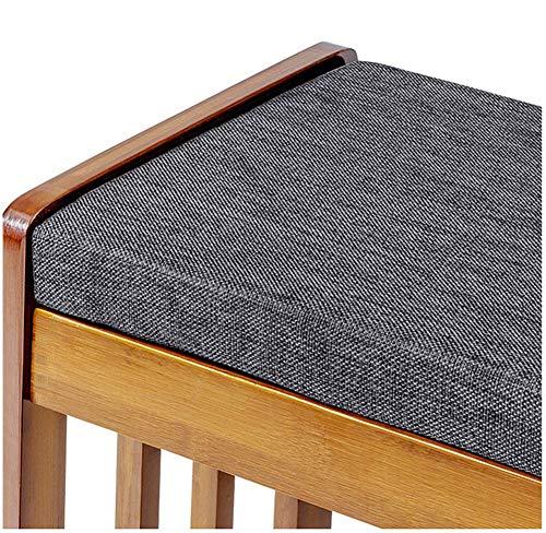 Cojín de madera acolchado de espuma para banco de comedor, 5 cm de grosor, antideslizante con cremallera y lazos para interior/exterior