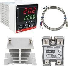 Twidec/ MV100-B10 Digital Display PID Temperature Controllers Thermostat Regulator AC 85V - 265V + K Sensor Thermocouple + Heat Sink and Solid State Relay SSR 25 DA