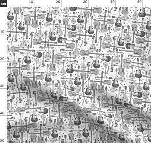 Pointillismus, Gitarren, Noten, In Großem Maßstab Wiederholt Stoffe - Individuell Bedruckt von Spoonflower - Design von Mandakay Gedruckt auf Baumwollstoff Klassik