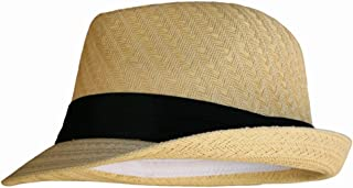 Natural Tan Straw Fedora Hat with Black Band