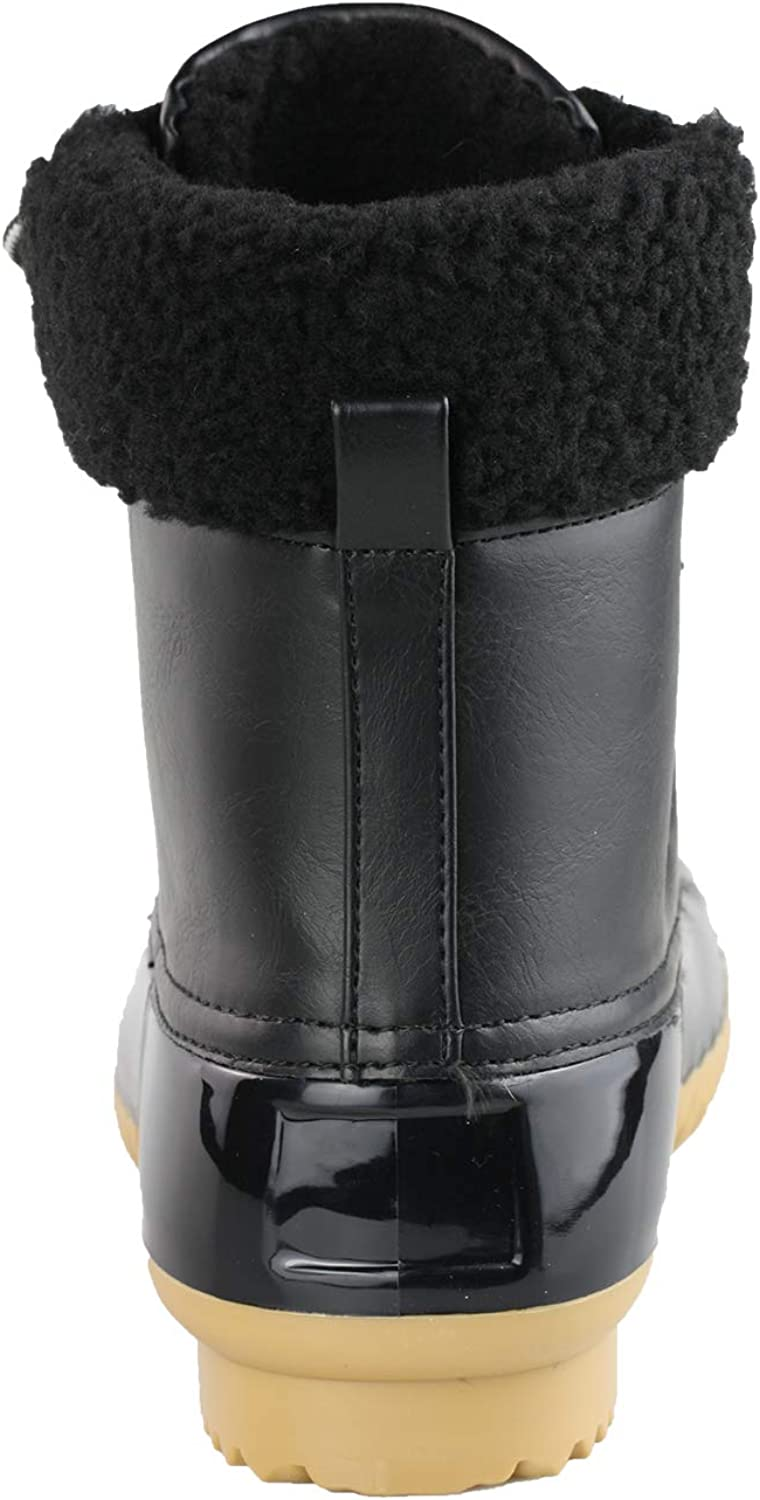 ShoBeautiful Women's Waterproof Rain Booties Duck Padded Mud Rubber Snow Lace Up Ankle Boots