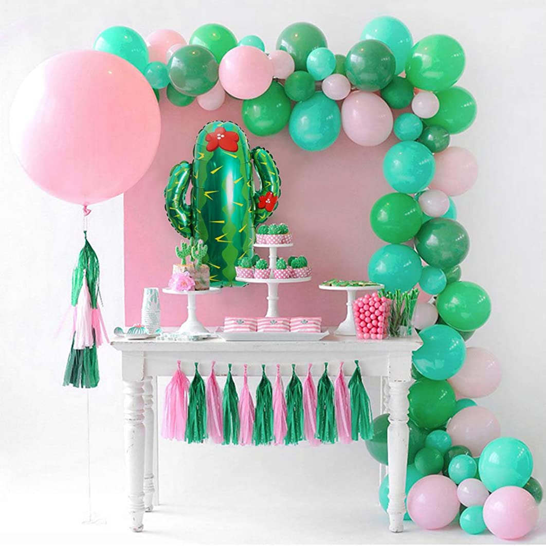 "GIHOO Summer Party Decorations - 70pcs Latex DIY Balloons Garland, 36"" Pink Round Balloon, Giant Cactus Balloon with Paper Tassels for Birthday Wedding Baby Shower Hawaiian Party Decoration Supplies"