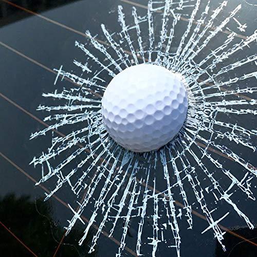 Porfeet Auto Aufkleber, Lustige 3D Golfball Hit Fenster Riss Auto Windschutzscheibe Aufkleber Aufkleber Dekoration Weiß