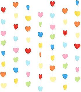 WXJ13 7 Pack Rainbow Color Birthday Paper Heart Decorations Heart Shape Garland Decorations, 41.3 Feet/13.7 Yards, Valenti...