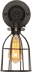 XIDING Premium Industrial Edison Antique Simplicity Wire Cage Wall Sconces Lighting Fixtures, Upgrade Black Finish Wall Lamp, On/Off Rotary Switch on Socket, 1-Light