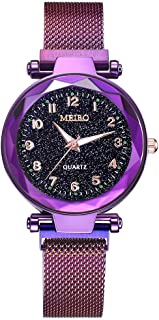 2019 Womens Starry Sky Flat Glass Dial Stainless Steel Mesh Band Magnetic Buckle Quartz Analog Watch by Balakie