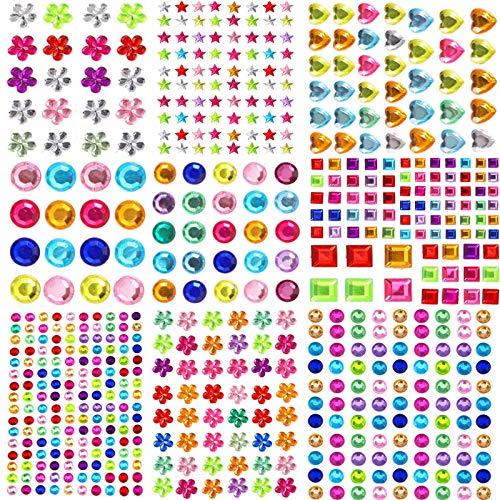 Autoadhesivas Pegatinas De Gemas Diamantes AcríLico Adhesivos De Strass Crystal Gem Stickers De UñAs De Pendientes, Colores Y Formas Surtidos,Festival,Carnaval(12 Hojas,1846pcs)