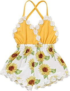 Weixinbuy Newborn Baby Girls Lace Trim Backless Sunflower Romper One Piece Overall Clothes