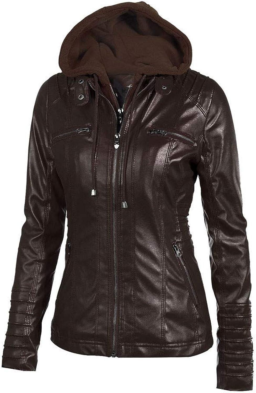 Biker Jacket AfterSo Womens Winter Warm Hooded Faux leather Coats Parkas Outwear