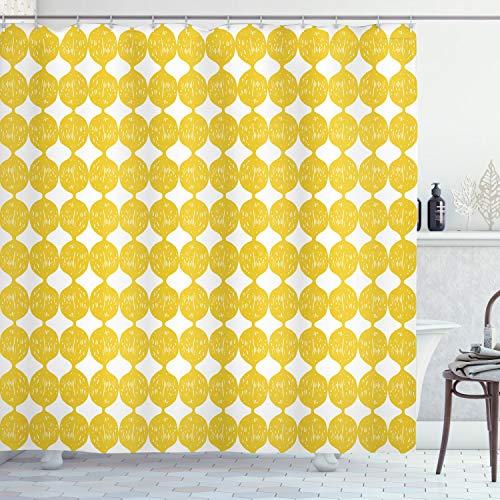 ABAKUHAUS Zitronen Duschvorhang, Ogee-Muster-Zitronen, mit 12 Ringe Set Wasserdicht Stielvoll Modern Farbfest & Schimmel Resistent, 175x180 cm, Braun Gelb & Weiß
