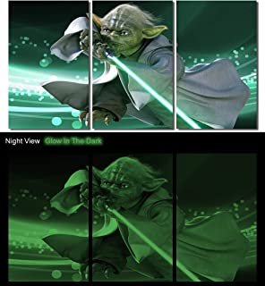 Picture Sensations® Glow In The Dark Framed Canvas Art Print, Star Wars Yoda Jedi Master Wall Canvas Art - 42