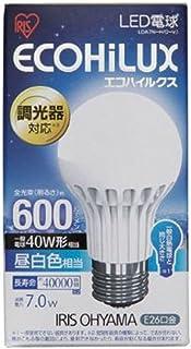 アイリスオーヤマ LED電球 調光器対応 口金直径26mm 40W形相当 昼白色 下方向タイプ 密閉形器具対応 エコハイルクス LDA7NHDV1