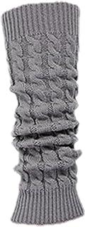 )Calcetin Leotardo Calentadores de pierna Cubierta de bota tejida de ganchillo de invierno de mujeres gris claro