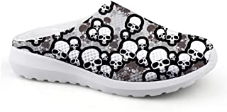 AXGM Men's Slippers Mesh Width Clogs Mules Beach Shoes Cartoon Skull Head Camouflage Colour Graphic Trend Slipper Men Flat...