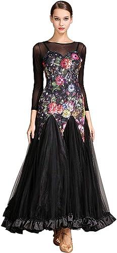 Danse Moderne Robes Perforhommece pour Les Femmes, Concours De Danse Valse Manches Longues Impression Tulle épissure (Couleur   noir, Taille   XXL)