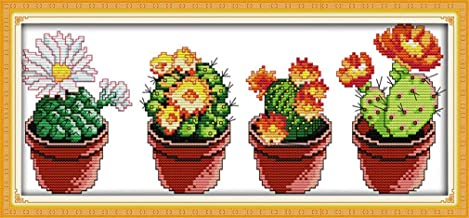 YEESAM Art New Counted Cross Stitch Kits Advanced - Beautiful Cactus (1) - Embroidery Set Needlework DIY Handmade Christmas Gifts (Stamped Canvas)