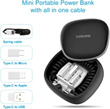 Portable Charger, GARAS 3 in 1 Mini Power Bank Spring Fast Charging & Data Syncing Cord with Portable Storage Box Compatible with Mirco USB, Type C Smartphone and iProduct(Black)