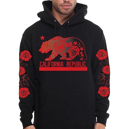 8c50a6bf334223 CaliDesign Men s California republic Roses Hoodie Sleeve Pullover Sweatshirt