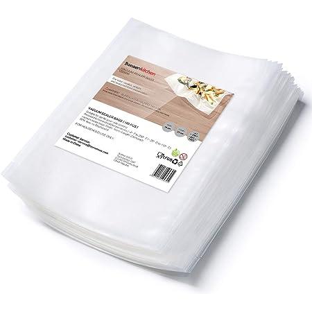 Bonsenkitchen Sacchetto sottovuoto professionale 16x23 cm cm per termosigillatrice e sigillatrice a foglio con cibo sous vide, senza BPA e resistente all'ebollizione, 100 sacchetti a vuoto