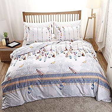 Feather Bedding Bohemian Duvet Cover Set Colorful Feather Grey Floral Printed White Floral Bedding Set King (104 x90 ) One Duvet Cover Two Pillwocases (Multi, King)
