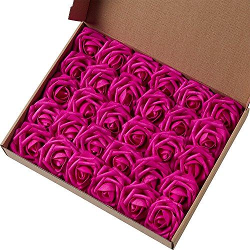 N&T NIETING Rosas artificiales de espuma de tacto real para ramos de boda, fiesta, baby shower, decoración del hogar (fucsia)