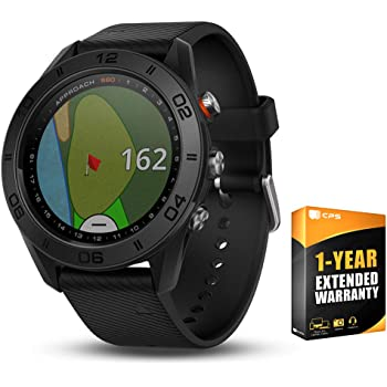 Garmin Approach S60 Golf Watch Black with Black Band (010-01702-00) with 1 Year Extended Warranty