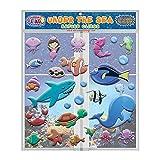 Under The Sea Ocean - Adhesivos de Espuma (30 Piezas) increíble Gel y Ventanas – Reble Puffy Sticker Pack para niños y niñas – Bajo el Agua, Tortuga, Sirena, tiburón, Ballena, Pulpo, Pescado