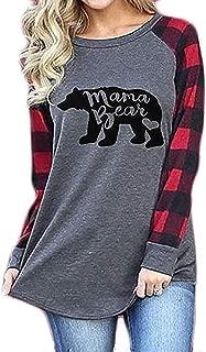 Womens Casual Plaid Long Sleeve Letter Print Mama Bear Print Shirt Tops Blouse T-Shirts