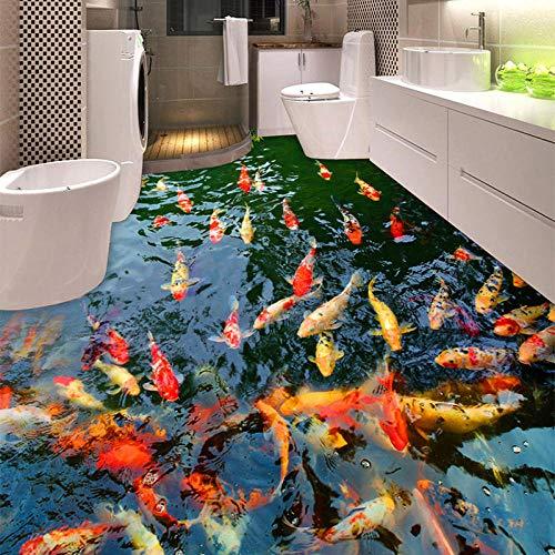 Personalizado murales y vinilos para dormitorios PVC autoadhesivo impermeable 3D suelo murales Goldfish estanque foto papel de pared pegatina baño cocina decoración del hogar-430 * 300cm