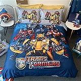 Cenarious Transformers Optimus Prime Bumblebee Cartoon Style Duvet Cover Set Cotton Flat Sheet Bed Cover - 3Pcs Bedding Set - Twin Flat Sheet Set - 61'x80' - 155x205cm