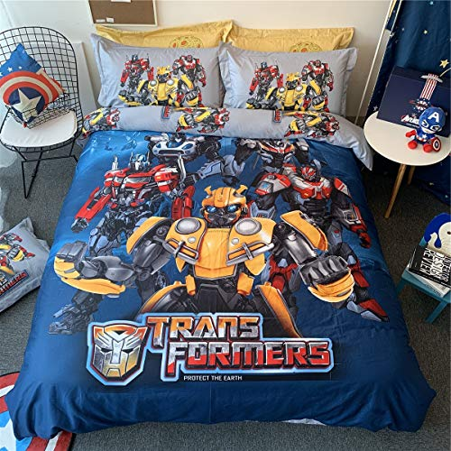 NSD Transformers Optimus Prime Bumblebee Cartoon Bedding Set Boys Girls Kids 100% Cotton Duvet Cover and Pillow Cases and Fitted Sheet - Boys - 3 Pieces - Twin