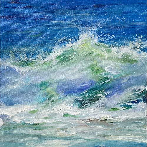 Meerbild Wellen Bild Meer handgemalt Kunst Original Ölmalerei Gemälde 15x15 cm