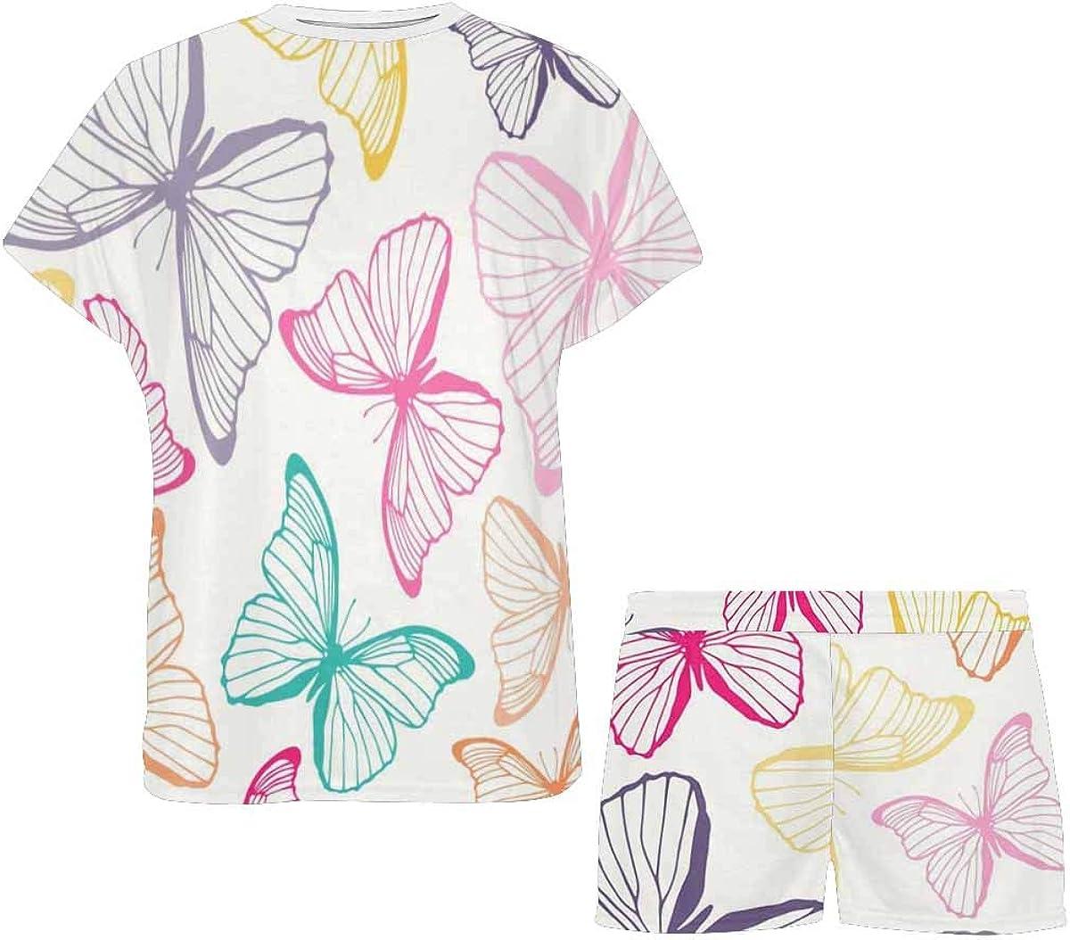 INTERESTPRINT Beautiful Butterflies Flying Women's Pajamas Short Sets Round Neck Short Sleeve Sleepwear