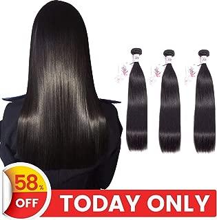 TRIO Brazilian Human Hair Bundles (16 18 20 Total 300g) Straight Bundles 10A Grade 100% Unprocessed Virgin Human Hair Straight Mink Hair 3 Weave Bundles Natural Black Color