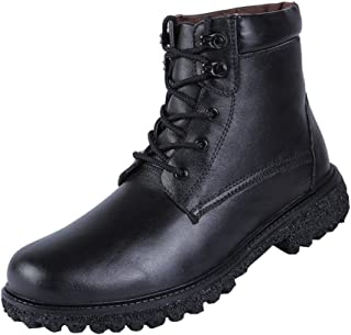 Modern Fantasy Mens Black Shoes Leather Winter Fur Trekking Combat Steel Toe Boot
