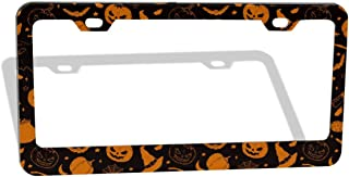 DZGlobal Halloween Pumpkin Series Car Frames Cool License Plate Printed Frame Aluminum Licenses Plates Cover Auto Tag Standard US Size 6x12 Inch with 2 Holes