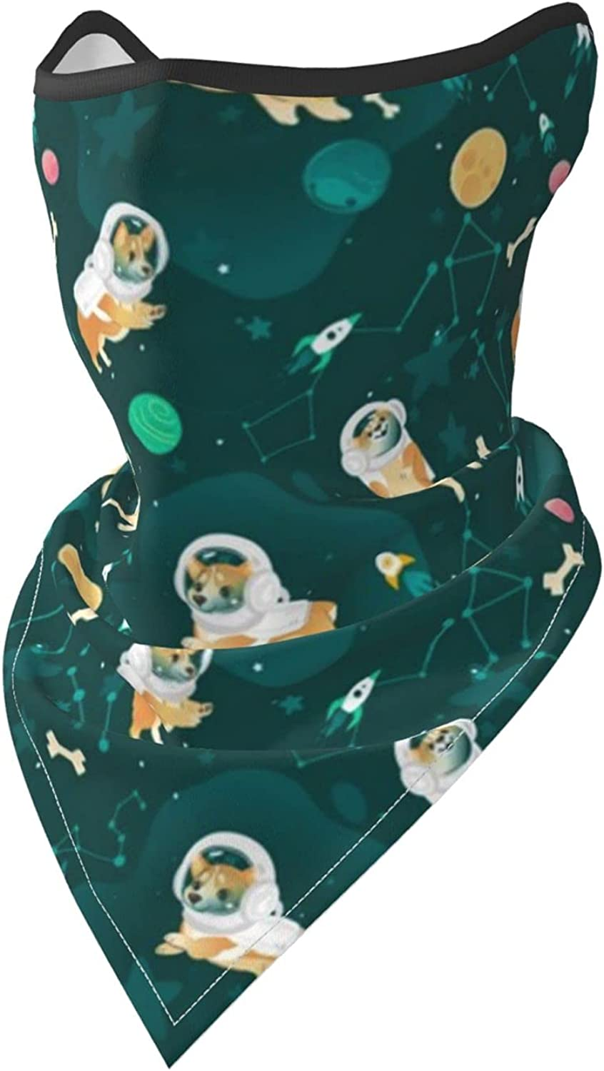 Welsh Corgi Dogs Flying in Space Breathable Bandana Face Mask Neck Gaiter Windproof Sports Mask Scarf Headwear for Men Women Outdoor Hiking Cycling Running Motorcycling