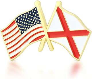 GS-JJ American and Alabama State Crossed Friendship Flag Enamel Lapel Pin