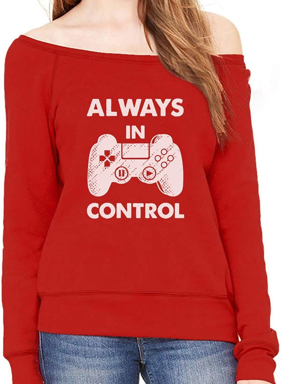 Tstars  Always in Control Novelty Gamer Video Game Off Shoulder Sweatshirt